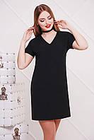 Короткое летнее черное платье спортивного стиля со змейкой на спинке сукня Космо к/р