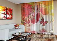 """ФотоТюль """"Пионы и бабочки"""" (2,5м*3,0м, на длину карниза 2,0м)"""