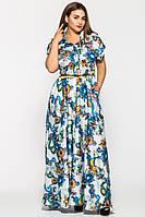 Длинное нежное платье Алена белое (46-54)
