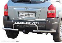 Защита заднего бампера на Hyundai Tucson, углы с обводкой фаркопа