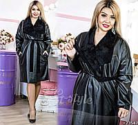 Женское кожаное пальто на меху с карманами батал