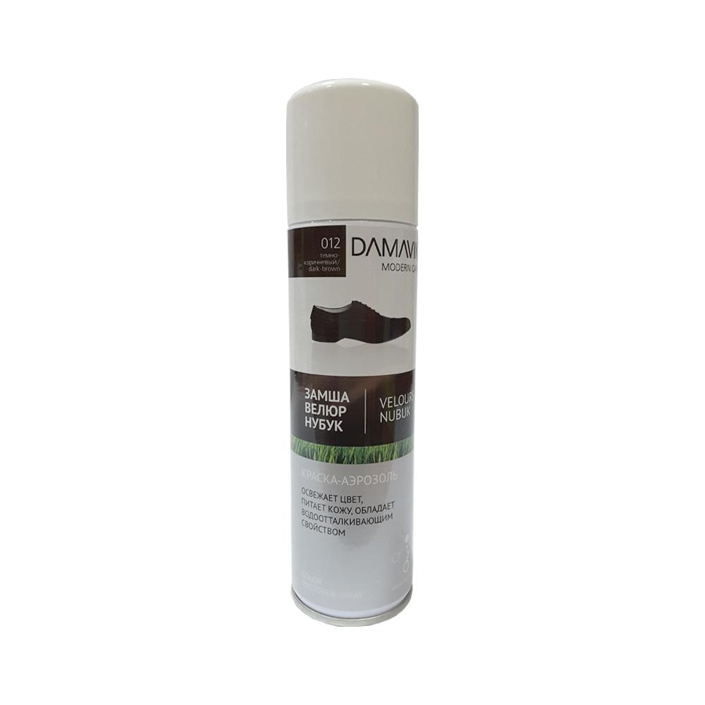 Краска-аэрозоль DAMAVIK для замши велюра нубука темно-коричневая
