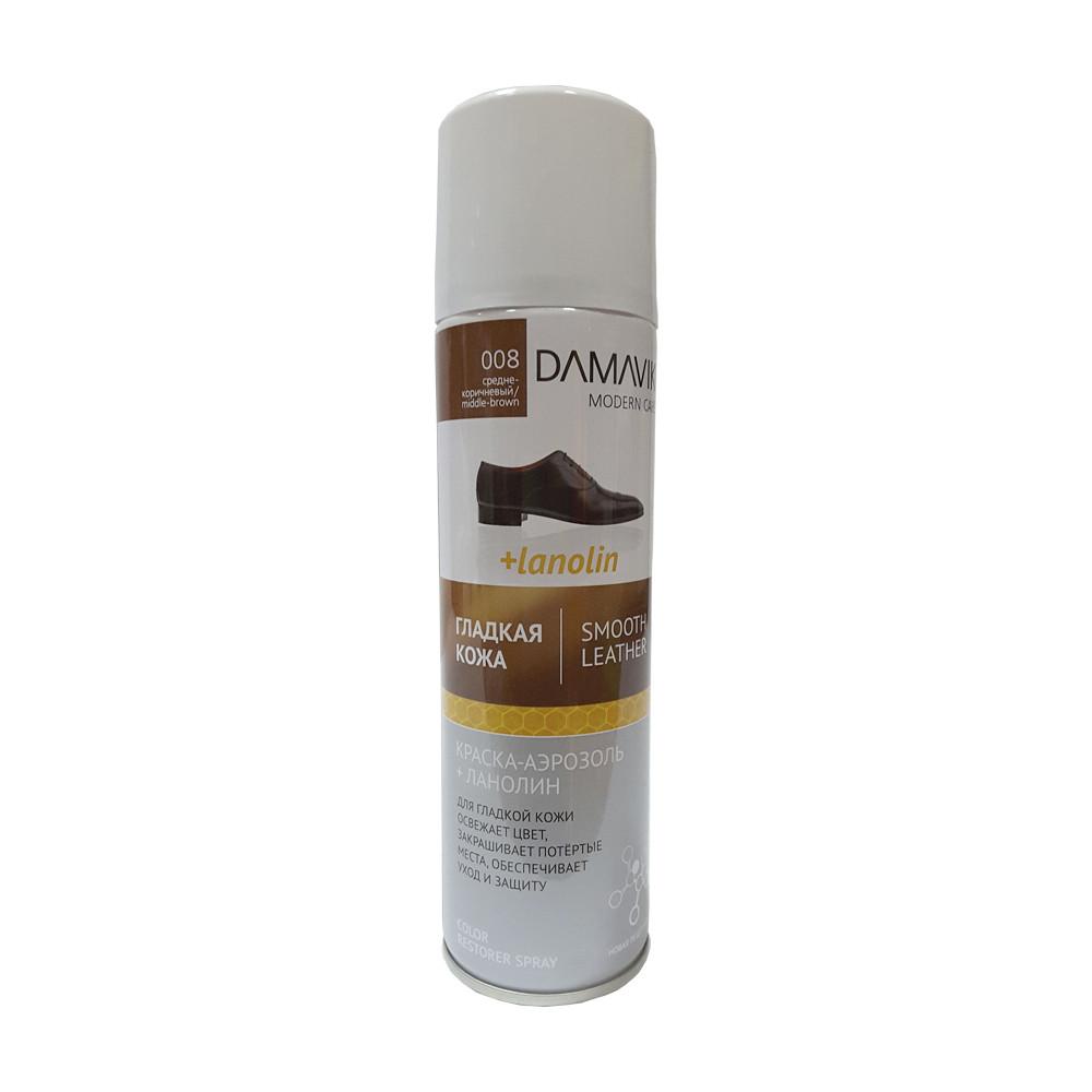 Краска-аэрозоль с ланолином DAMAVIK гладкая кожа средне-коричневая