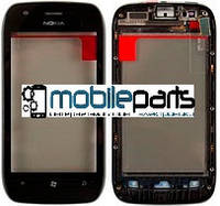 Оригинальный Сенсор (Тачскрин) для Nokia Lumia 710 (С рамкой+кнопки) (Черный)
