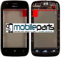 Оригинальный Сенсор (Тачскрин) для Nokia Lumia 710 (С рамкой + кнопки) (Черный)