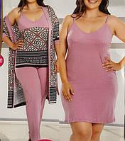 """Комплект женский большого размера """"4 предмета"""" халат пижама и ночнушка №18150, фото 1"""