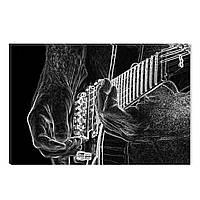 Светящиеся Картины Startonight Гитарист Абстракция Черно Белые Печать на Холсте Декор стен Дизайн Интерьер