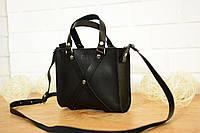 Черная кожаная женская сумочка