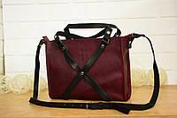 Большая сумка через плечо, натуральная кожа «Бордо»