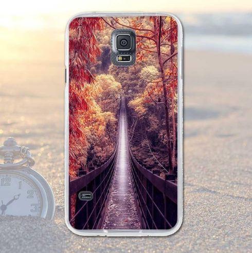Бампер силиконовый чехол для Samsung Galaxy S5 i9600 с картинкой Мост