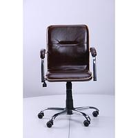 Кресло Самба-RC Хром Софт Мадрас Дарк Браун с кантом (AMF-ТМ)
