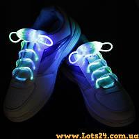 Светящиеся шнурки для обуви (cиние, LED) + батарейки CR2032 в подарок