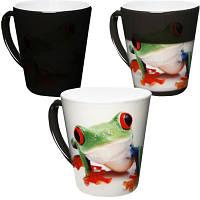 Чашка с Вашим дизайном Latte со сменой цвета (Хамелеон), черная средняя
