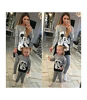 Детский костюм с Микки Маусом туника и лосины, серия Мама и дочка