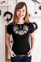 Жіноча футболка з вишивкою Маки фіолет