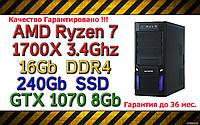 Системный блок  (AMD Ryzen 3.4Ghz / B350 / 16Gb / 240Gb / 1Tb / GTX 1070 8Gb / 600W