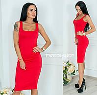 Платье-майка из трикотажа р.S-M красный