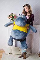 Мягкая игрушка большой Бегемотик 100 см.Игрушка бегемот синтапон,холлофайбер, ручная, серый