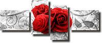 """Модульная картина """"Красные розы и вензеля""""  (700х1690 мм)  [4 модуля]"""