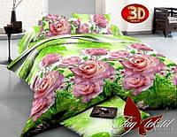 Красивые комплект постельного белья в зеленом цвете 1,5 Розы