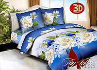 3D комплект постельного белья 1,5 Розы на синем фоне