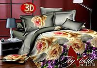 Полуторное постельное 3Д белье 1,5 набор Розы