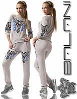 Женский стильный спортивный костюм кофта и штаны с узором гжель