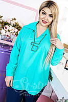 Классическая блузка с длинным рукавом батал