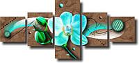 """Модульная картина """"Голубая орхидея""""  (82х187 мм)  [5 модулей]"""