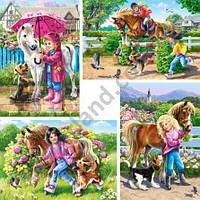 "Пазлы ""Castorland"" 4х (04430) 23*16,5 см (Девочки и лошадки) 60-50-40-30"