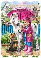 Пазлы Castorland 03426 Девочка с лошадкой под зонтом