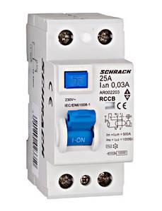 Устройство защитного отключения, УЗО Schrack 10кА/30мА 2Р 25А тип АС
