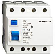 Устройство защитного отключения, УЗО Schrack 10кА/30мА 4Р 25А тип АС