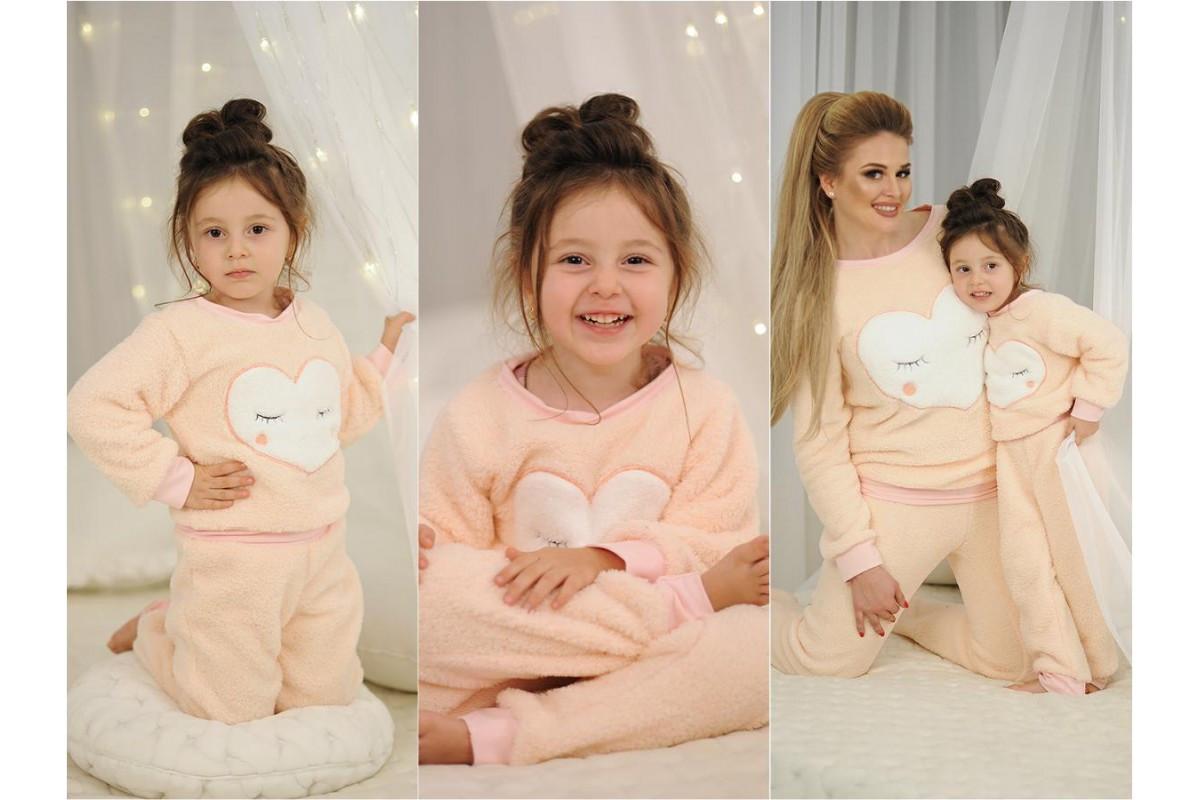 Домашний мягенький теплый детский махровый костюм пижама