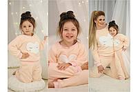 Домашний мягенький теплый детский махровый костюм пижама, серия мама и дочка