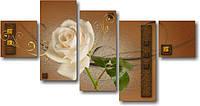 "Модульная картина ""Белая роза с золотом"" (690х1330 мм) [5 модулей]"
