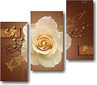 "Модульная картина ""Роза с золотыми бабочками"" (750х860 мм) [3 модуля]"