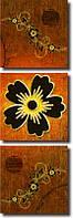 """Модульная картина """"Черные цветы с золотом"""" (400х1260 мм) [3 модуля]"""