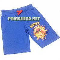 Детские шорты р. 116-122 для мальчика тонкие ткань ФУТЕР ДВУХНИТКА 1012 Синий 116