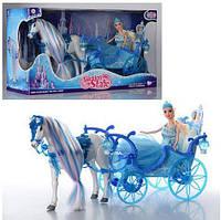 Кукла с каретой и лошадью 223A, 56х19х30 см, световые и звуковые эффекты, лошадка ходит