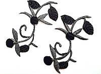 Цветок клеевой, цвет черный, 10 шт в упаковке