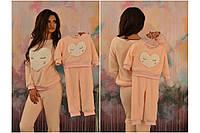 Домашний мягенький теплый женский махровый костюм, серия мама и дочка