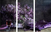 """Модульная картина """"Сирень в вазе""""  (500х790 мм)  [3 модуля]"""