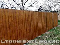 Забор из двухстороннего профнастила под дерево