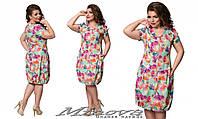 Легкое летнее платье замок по всей длине стрейч-креп в цветы Размеры:50,52,54,56,58