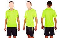 Футбольная форма подростковая New game CO-4807-LG (PL, р-р M-XL, салатовый, шорты черные)