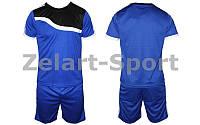 Футбольная форма подростковая Wave CO-4588-B (PL, р-р M-XL, синий, шорты синие)