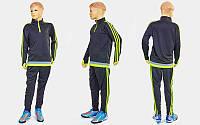 Костюм для тренировок по футболу детский LD2001T-G (полиэстер, р-р 26-32 (125-155), черный-салатовый)