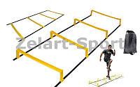Координационная лестница дорожка с барьерами 2,15м (6 пер.) C-4892 (р-р 2,15x0,5мх3,4мм)