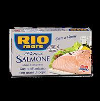 Филе лосося копченое с черным перцем Rio mare Filetto di salmone Affumicato con Grani di Pepe 150г